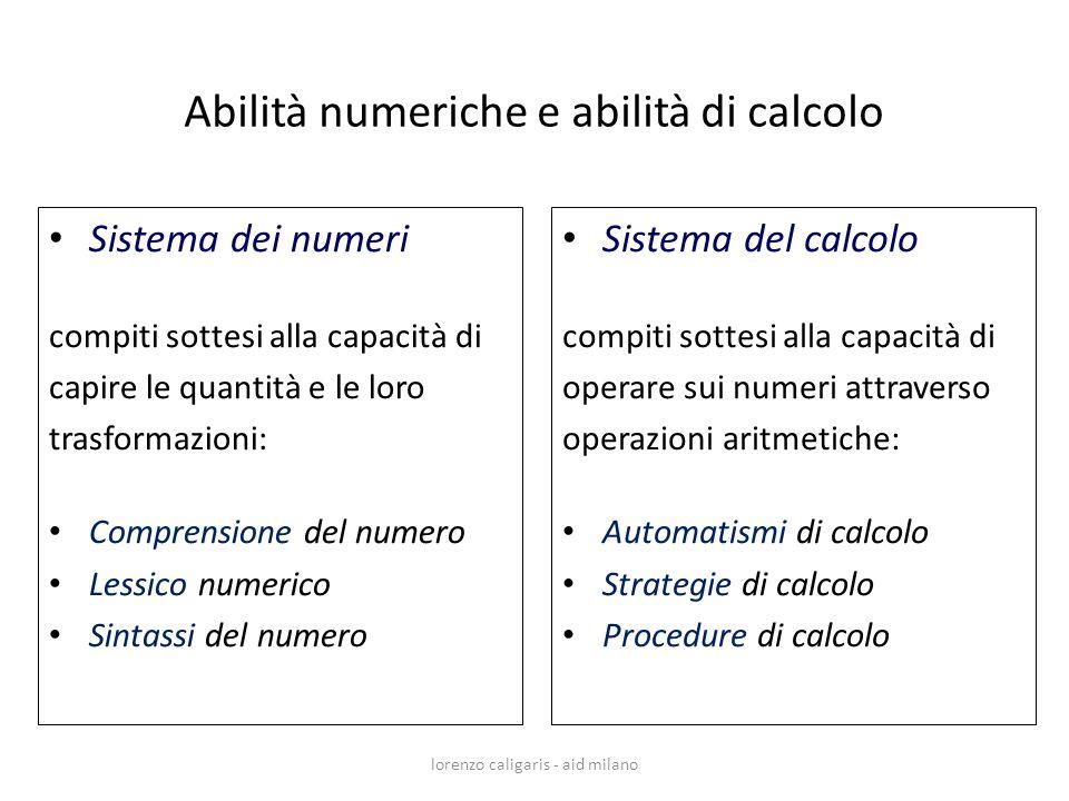 Sistema dei numeri compiti sottesi alla capacità di capire le quantità e le loro trasformazioni: Comprensione del numero Lessico numerico Sintassi del