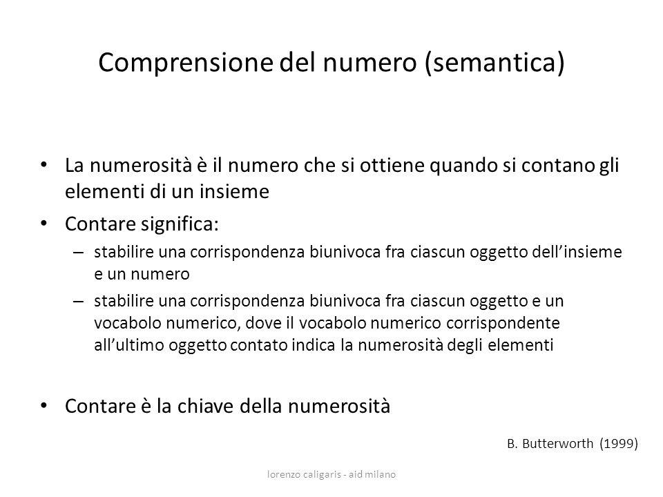 Comprensione del numero (semantica) La numerosità è il numero che si ottiene quando si contano gli elementi di un insieme Contare significa: – stabili