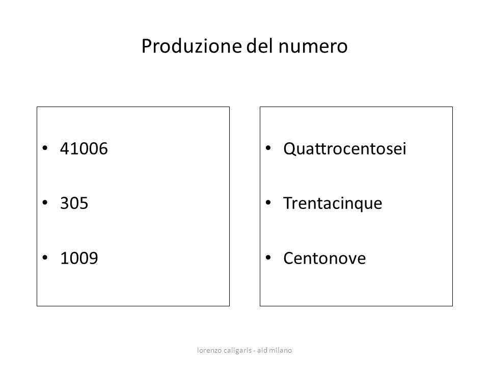 41006 305 1009 Quattrocentosei Trentacinque Centonove lorenzo caligaris - aid milano Produzione del numero