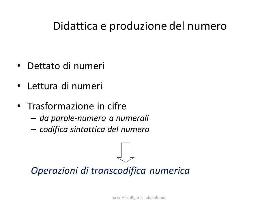 lorenzo caligaris - aid milano Dettato di numeri Lettura di numeri Trasformazione in cifre – da parole-numero a numerali – codifica sintattica del num