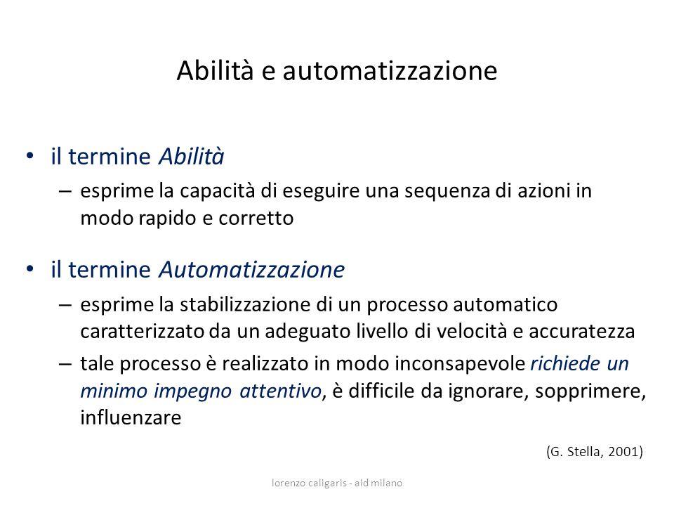 il termine Abilità – esprime la capacità di eseguire una sequenza di azioni in modo rapido e corretto il termine Automatizzazione – esprime la stabili