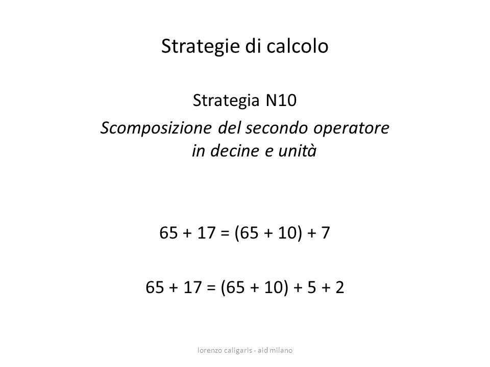Strategia N10 Scomposizione del secondo operatore in decine e unità 65 + 17 = (65 + 10) + 7 65 + 17 = (65 + 10) + 5 + 2 lorenzo caligaris - aid milano