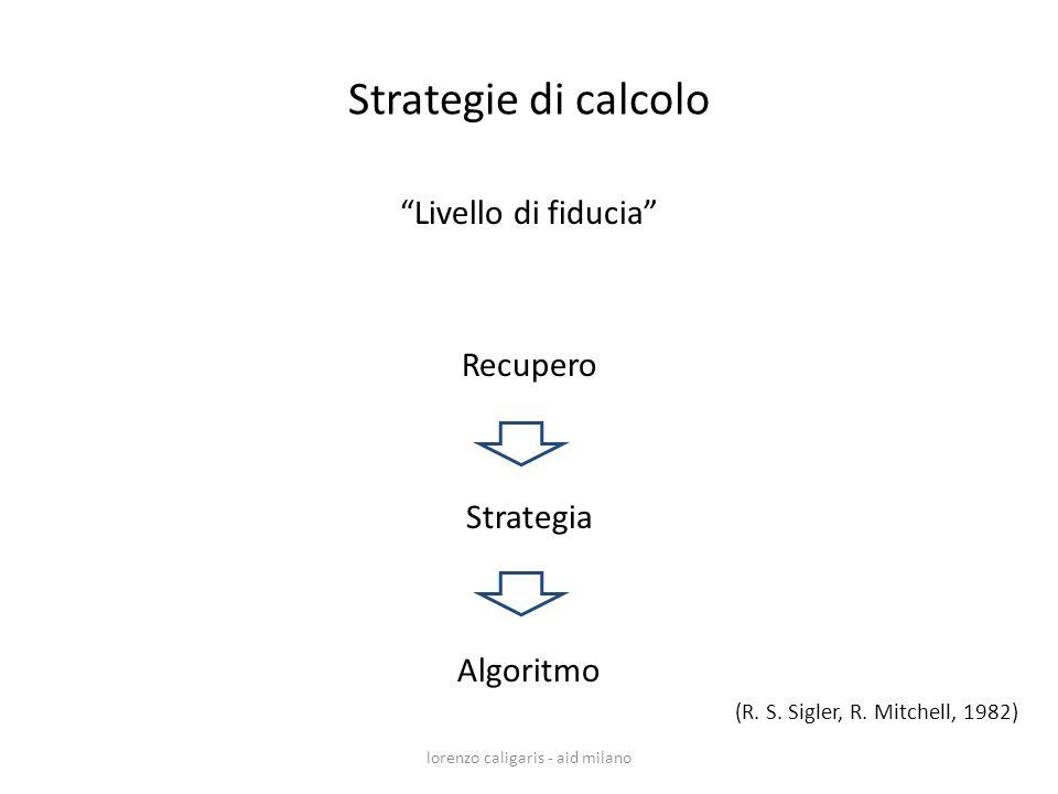 Livello di fiducia Recupero Strategia Algoritmo lorenzo caligaris - aid milano (R. S. Sigler, R. Mitchell, 1982) Strategie di calcolo