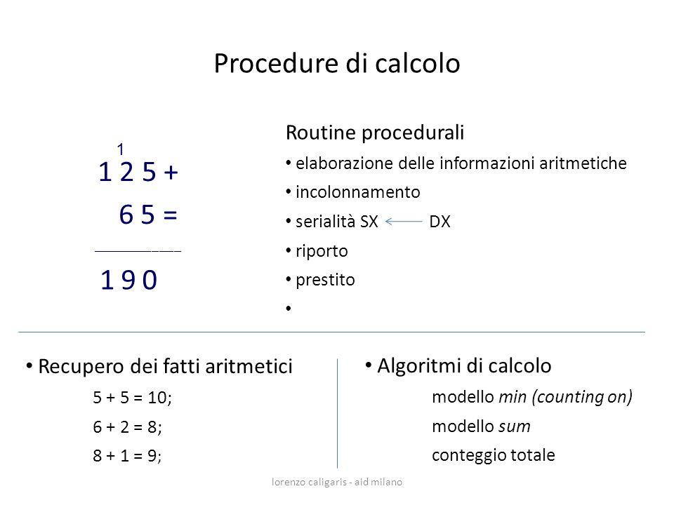Routine procedurali elaborazione delle informazioni aritmetiche incolonnamento serialità SX DX riporto prestito 1 2 5 + 6 5 = ____________ 0 1 91 lore