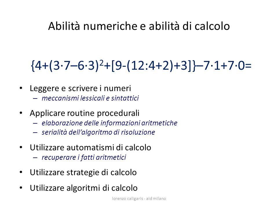 lorenzo caligaris - aid milano {4+(3·7–6·3) 2 +[9-(12:4+2)+3]}–7·1+7·0= Leggere e scrivere i numeri – meccanismi lessicali e sintattici Applicare rout