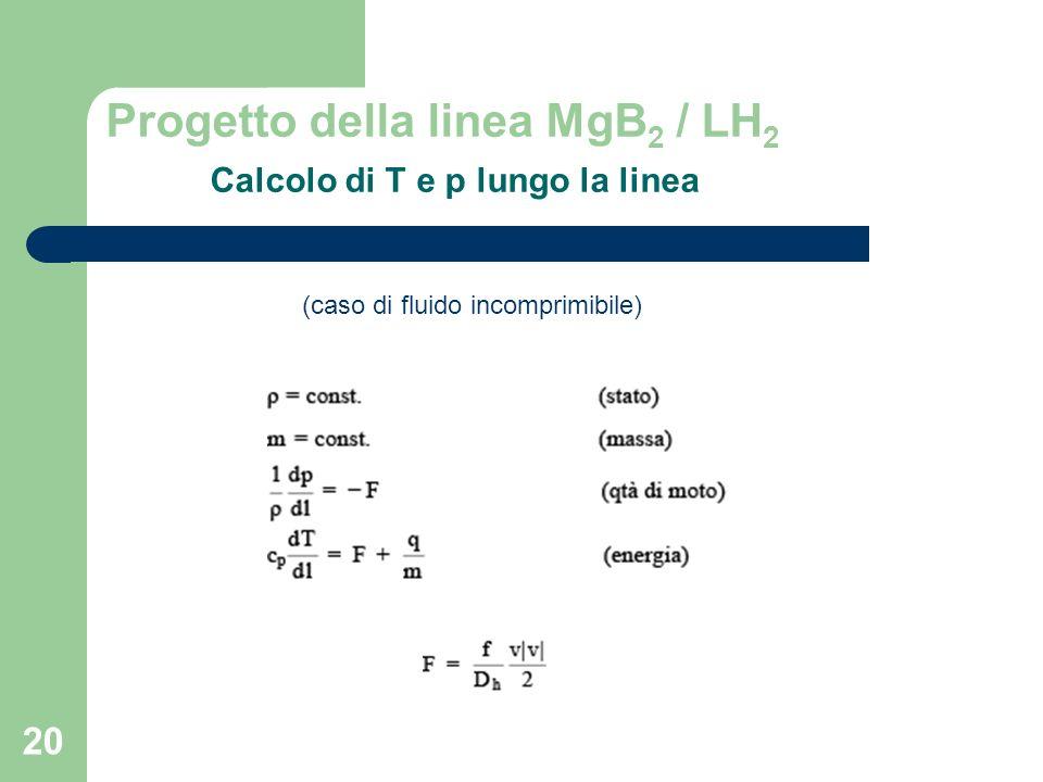 20 Progetto della linea MgB 2 / LH 2 Calcolo di T e p lungo la linea (caso di fluido incomprimibile)
