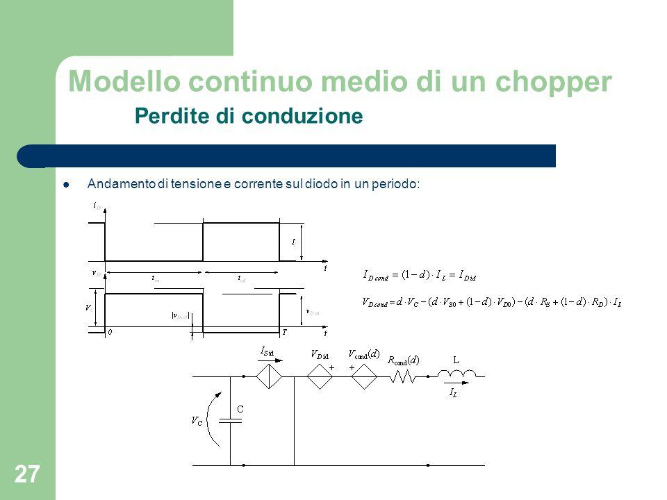 27 Andamento di tensione e corrente sul diodo in un periodo: Modello continuo medio di un chopper Perdite di conduzione