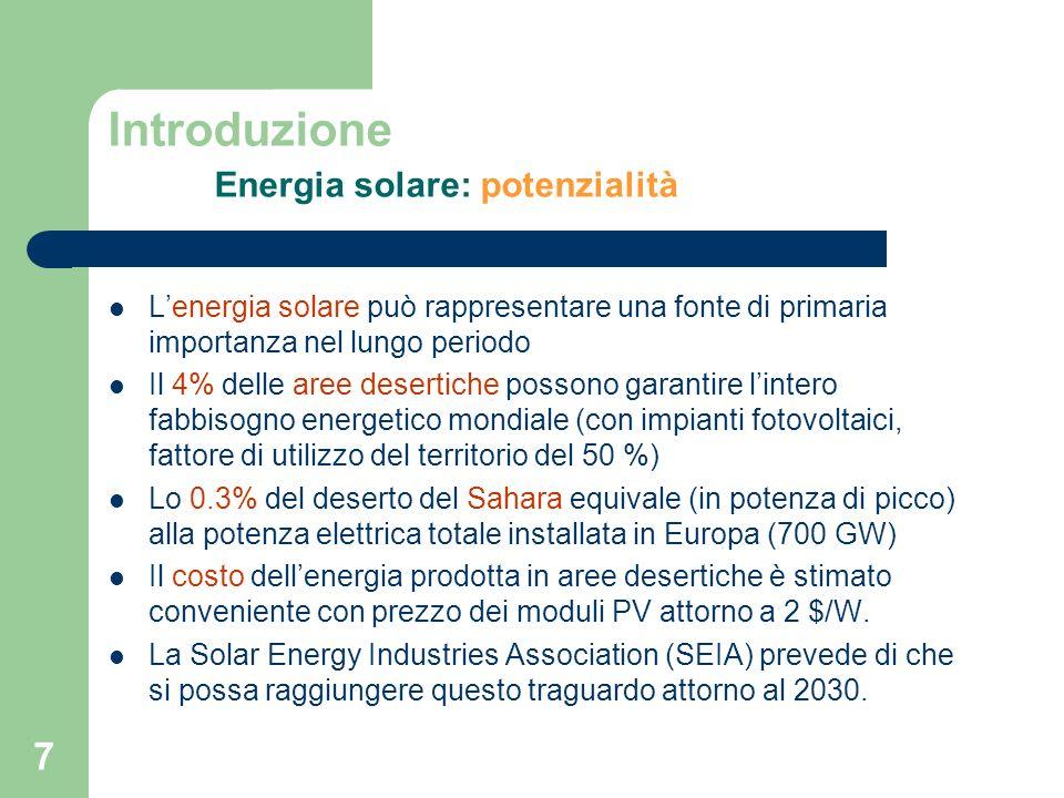 7 Introduzione Energia solare: potenzialità Lenergia solare può rappresentare una fonte di primaria importanza nel lungo periodo Il 4% delle aree dese