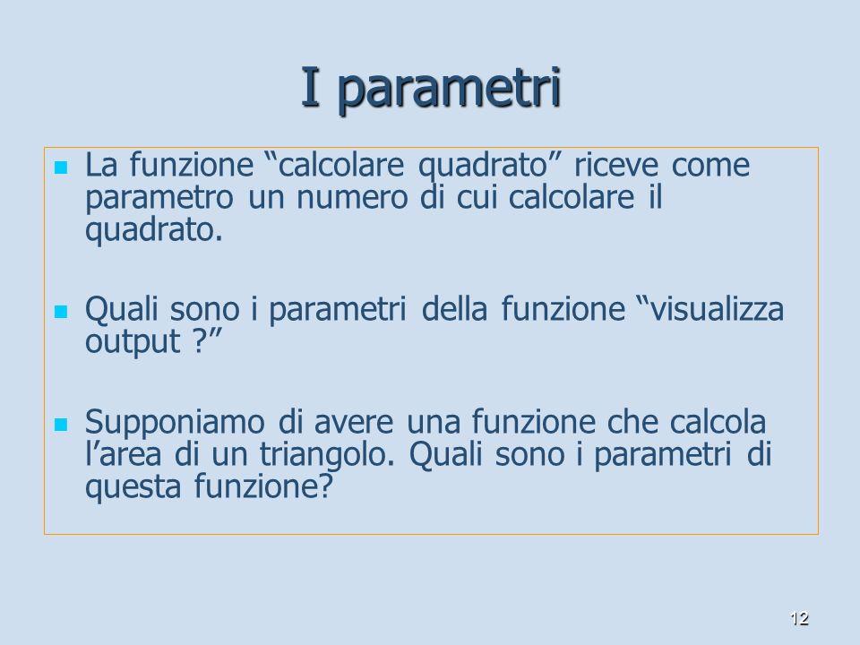 12 I parametri La funzione calcolare quadrato riceve come parametro un numero di cui calcolare il quadrato. Quali sono i parametri della funzione visu