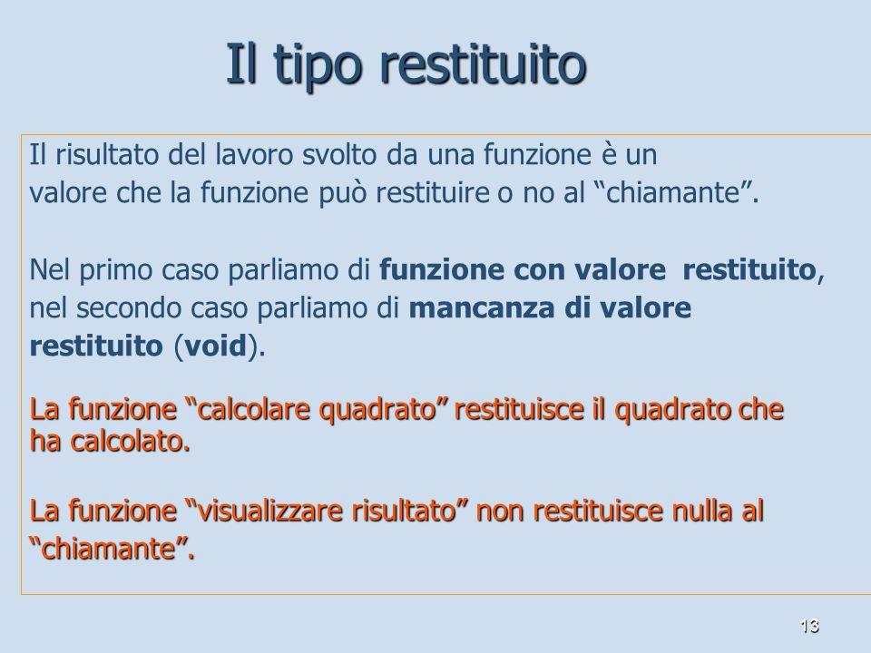 13 Il risultato del lavoro svolto da una funzione è un valore che la funzione può restituire o no al chiamante. Nel primo caso parliamo di funzione co