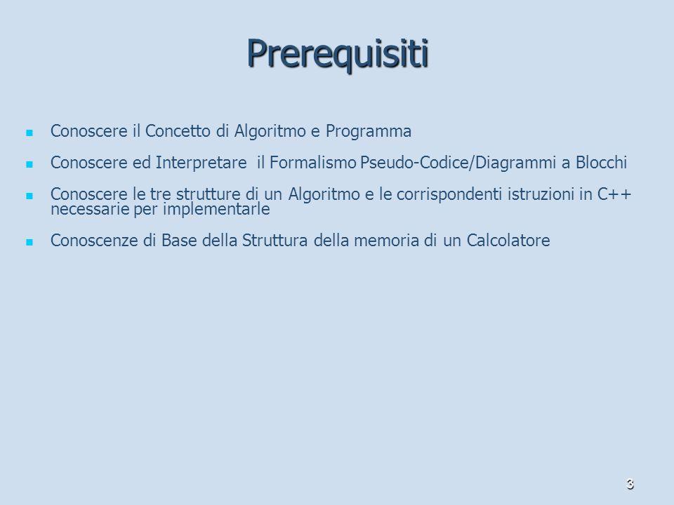 3 Prerequisiti Conoscere il Concetto di Algoritmo e Programma Conoscere ed Interpretare il Formalismo Pseudo-Codice/Diagrammi a Blocchi Conoscere le t