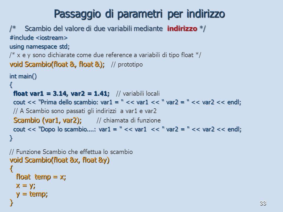33 /* Scambio del valore di due variabili mediante indirizzo */ #include #include using namespace std; /* x e y sono dichiarate come due reference a v