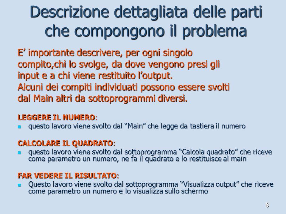 6 Descrizione dettagliata delle parti che compongono il problema E importante descrivere, per ogni singolo compito,chi lo svolge, da dove vengono pres