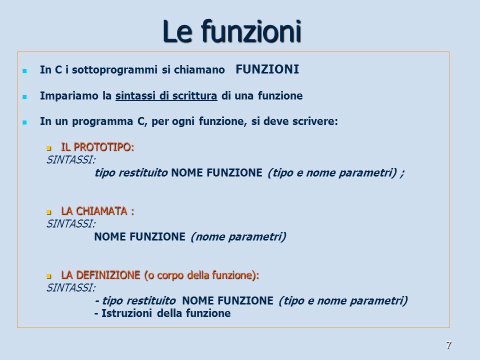 7 In C i sottoprogrammi si chiamano FUNZIONI Impariamo la sintassi di scrittura di una funzione In un programma C, per ogni funzione, si deve scrivere