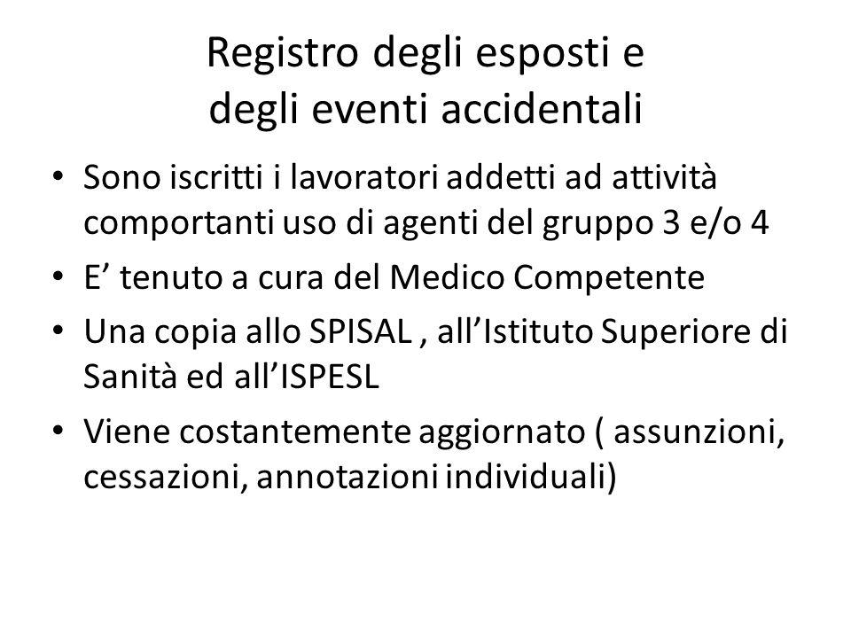 Registro degli esposti e degli eventi accidentali Sono iscritti i lavoratori addetti ad attività comportanti uso di agenti del gruppo 3 e/o 4 E tenuto