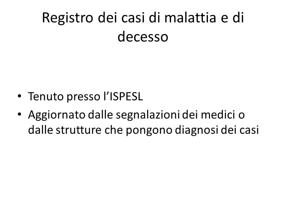 Registro dei casi di malattia e di decesso Tenuto presso lISPESL Aggiornato dalle segnalazioni dei medici o dalle strutture che pongono diagnosi dei c