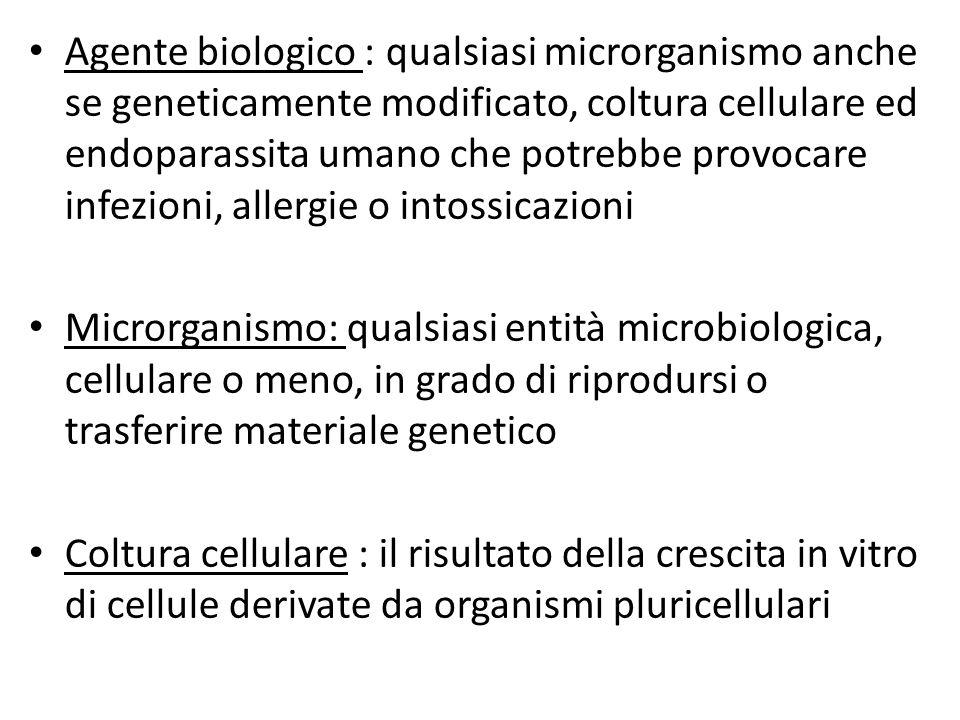 Agente biologico : qualsiasi microrganismo anche se geneticamente modificato, coltura cellulare ed endoparassita umano che potrebbe provocare infezion