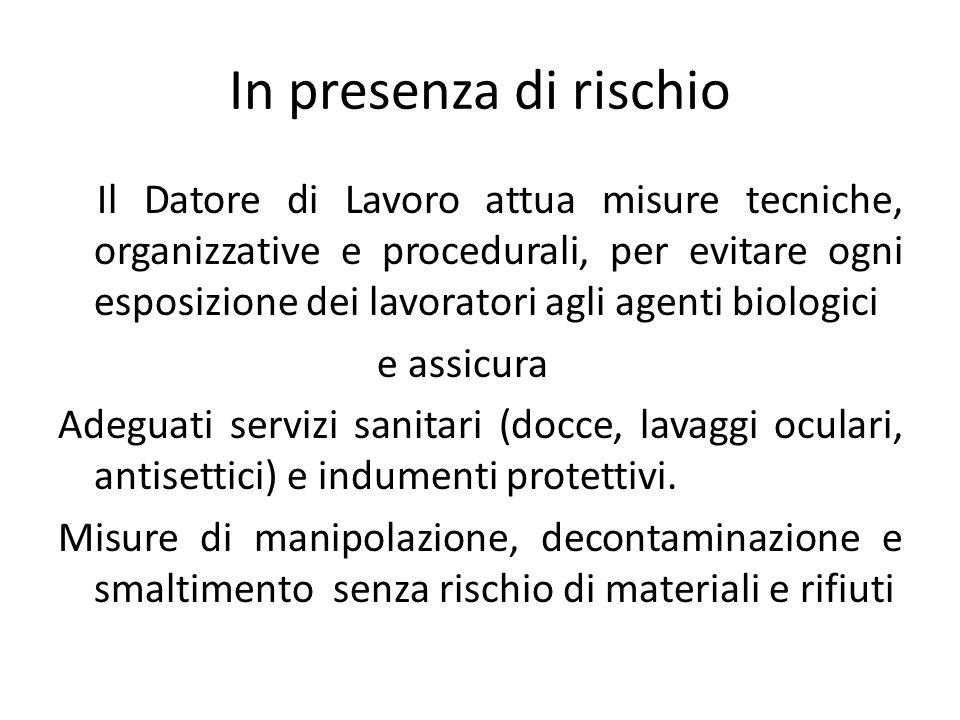 Le misure di contenimento Specifiche per laboratori e stabulari e corrispondenti al gruppo di rischio di agente biologico