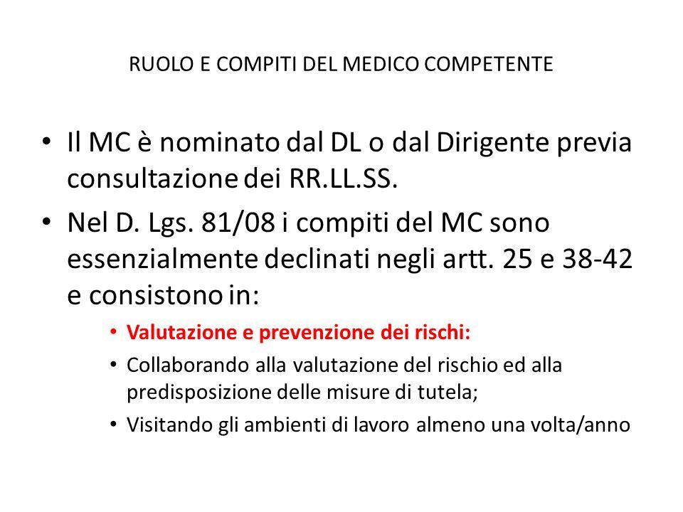 RUOLO E COMPITI DEL MEDICO COMPETENTE Il MC è nominato dal DL o dal Dirigente previa consultazione dei RR.LL.SS. Nel D. Lgs. 81/08 i compiti del MC so