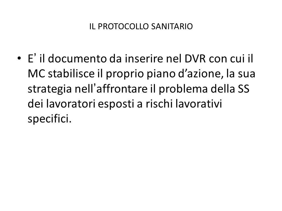 IL PROTOCOLLO SANITARIO E il documento da inserire nel DVR con cui il MC stabilisce il proprio piano dazione, la sua strategia nellaffrontare il probl