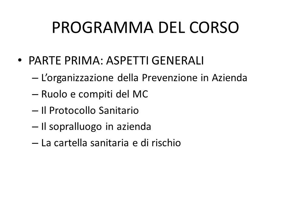PROGRAMMA DEL CORSO PARTE PRIMA: ASPETTI GENERALI – Lorganizzazione della Prevenzione in Azienda – Ruolo e compiti del MC – Il Protocollo Sanitario –
