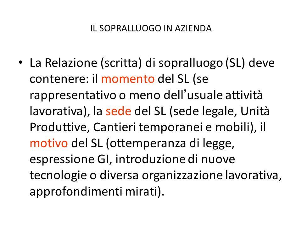 IL SOPRALLUOGO IN AZIENDA La Relazione (scritta) di sopralluogo (SL) deve contenere: il momento del SL (se rappresentativo o meno dellusuale attività