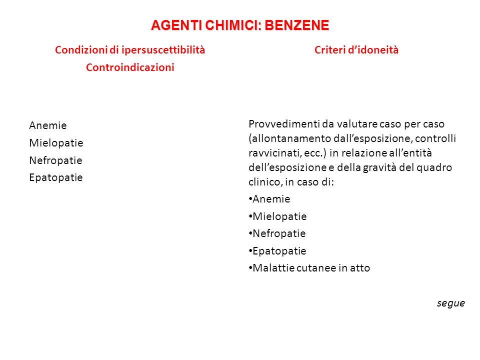 AGENTI CHIMICI: BENZENE Condizioni di ipersuscettibilità Controindicazioni Anemie Mielopatie Nefropatie Epatopatie Criteri didoneità Provvedimenti da