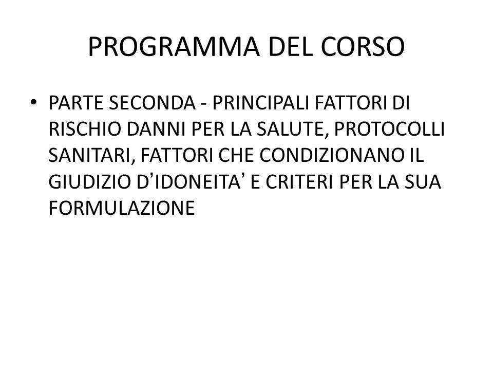 PROGRAMMA DEL CORSO PARTE SECONDA - PRINCIPALI FATTORI DI RISCHIO DANNI PER LA SALUTE, PROTOCOLLI SANITARI, FATTORI CHE CONDIZIONANO IL GIUDIZIO DIDON