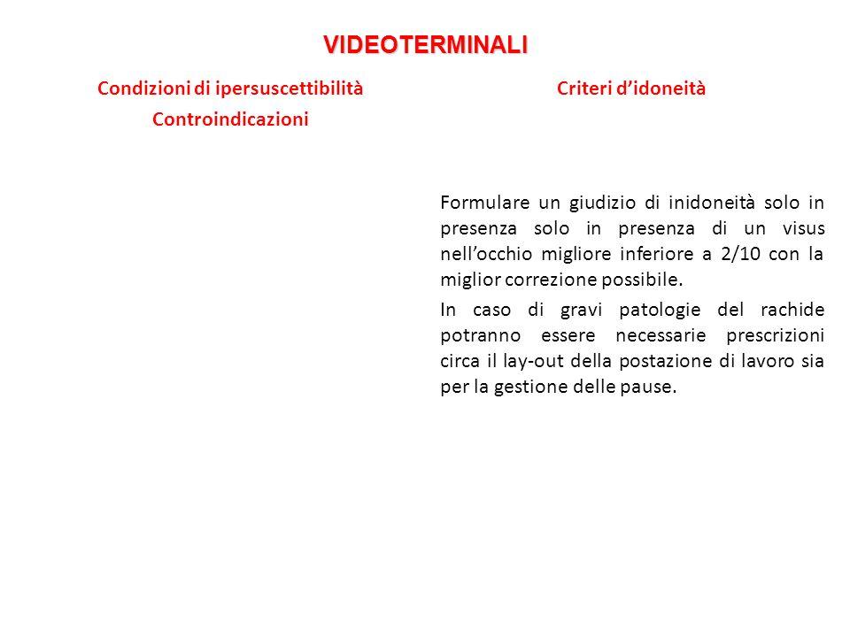 VIDEOTERMINALI Condizioni di ipersuscettibilità Controindicazioni Criteri didoneità Formulare un giudizio di inidoneità solo in presenza solo in prese