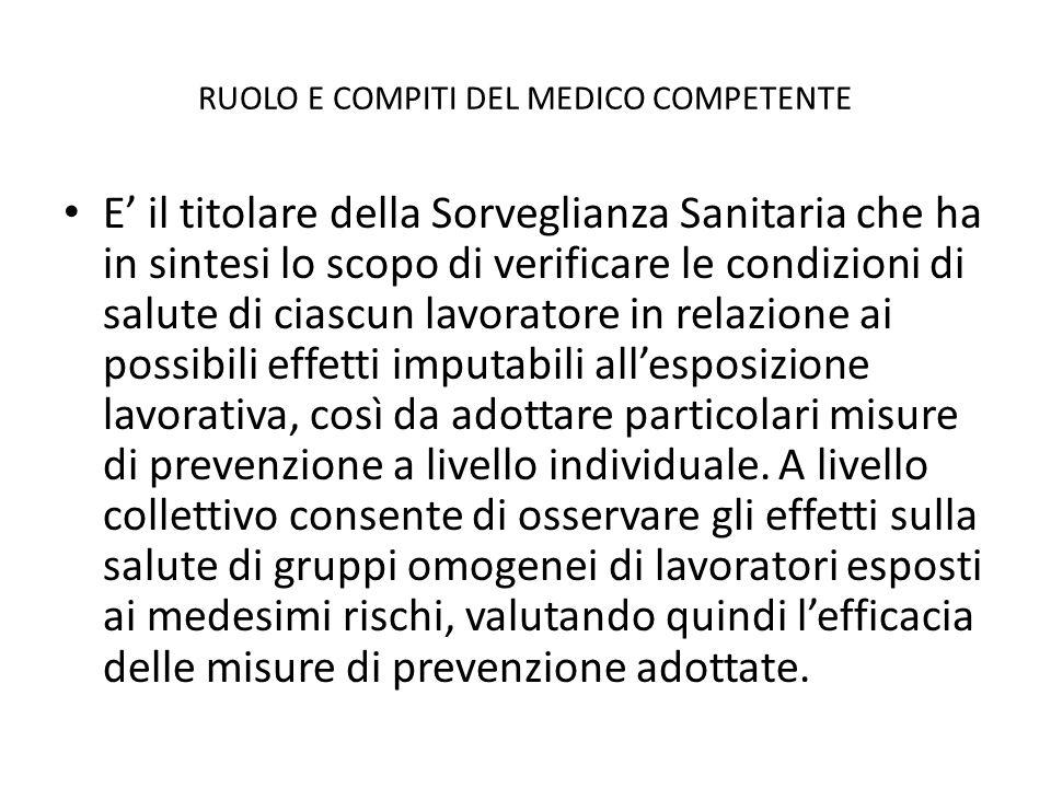 RUOLO E COMPITI DEL MEDICO COMPETENTE E il titolare della Sorveglianza Sanitaria che ha in sintesi lo scopo di verificare le condizioni di salute di c