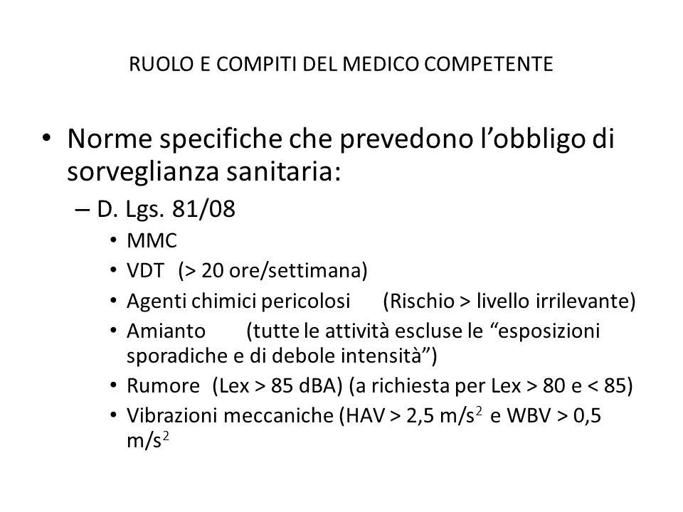 RUOLO E COMPITI DEL MEDICO COMPETENTE Norme specifiche che prevedono lobbligo di sorveglianza sanitaria: – D. Lgs. 81/08 MMC VDT(> 20 ore/settimana) A