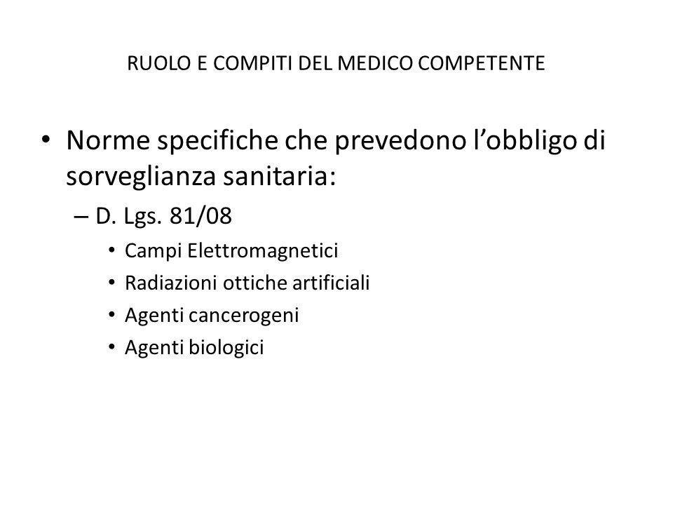 RUOLO E COMPITI DEL MEDICO COMPETENTE Norme specifiche che prevedono lobbligo di sorveglianza sanitaria: – D. Lgs. 81/08 Campi Elettromagnetici Radiaz
