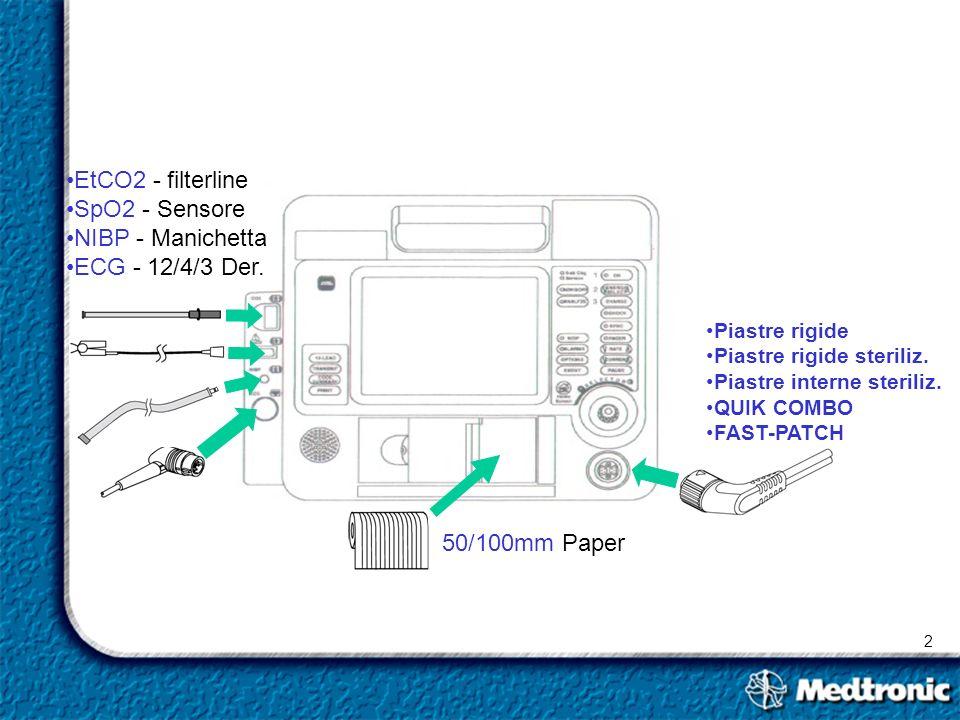 2 Piastre rigide Piastre rigide steriliz. Piastre interne steriliz. QUIK COMBO FAST-PATCH EtCO2 - filterline SpO2 - Sensore NIBP - Manichetta ECG - 12