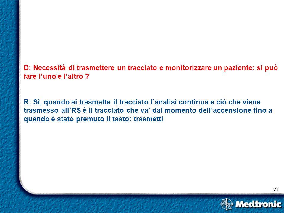 21 D: Necessità di trasmettere un tracciato e monitorizzare un paziente: si può fare luno e laltro ? R: Sì, quando si trasmette il tracciato lanalisi