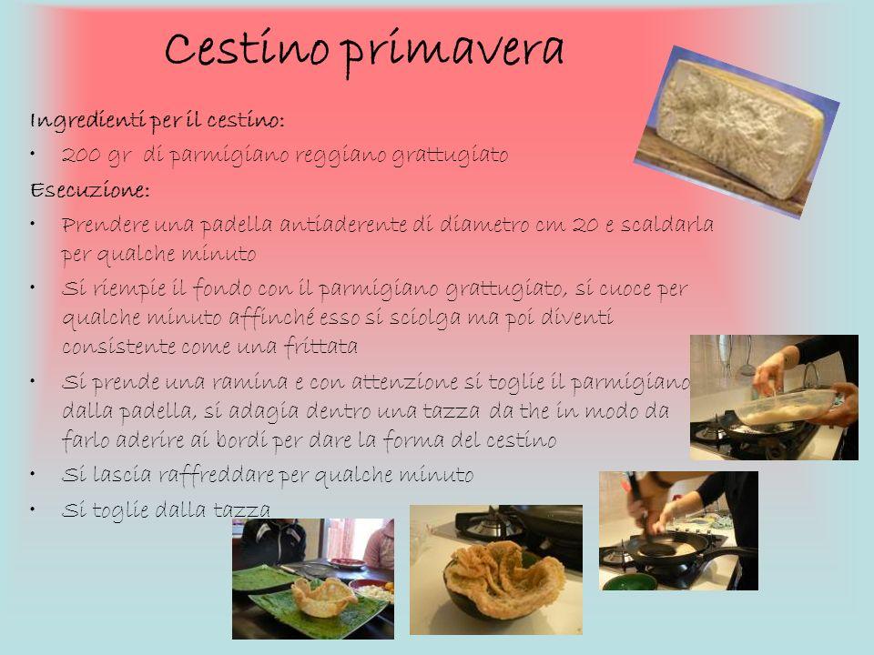 Cestino primavera Ingredienti per il cestino: 200 gr di parmigiano reggiano grattugiato Esecuzione: Prendere una padella antiaderente di diametro cm 2