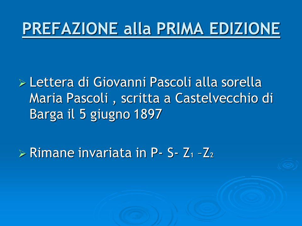 PREFAZIONE alla PRIMA EDIZIONE Lettera di Giovanni Pascoli alla sorella Maria Pascoli, scritta a Castelvecchio di Barga il 5 giugno 1897 Lettera di Gi