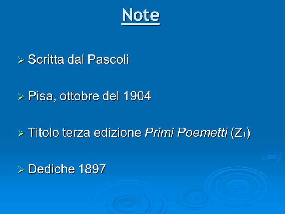 Note Scritta dal Pascoli Scritta dal Pascoli Pisa, ottobre del 1904 Pisa, ottobre del 1904 Titolo terza edizione Primi Poemetti (Z 1 ) Titolo terza ed