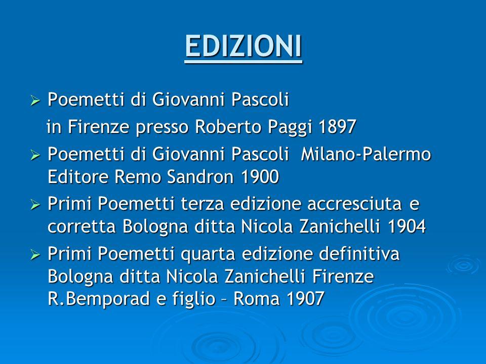 EDIZIONI Poemetti di Giovanni Pascoli Poemetti di Giovanni Pascoli in Firenze presso Roberto Paggi 1897 in Firenze presso Roberto Paggi 1897 Poemetti