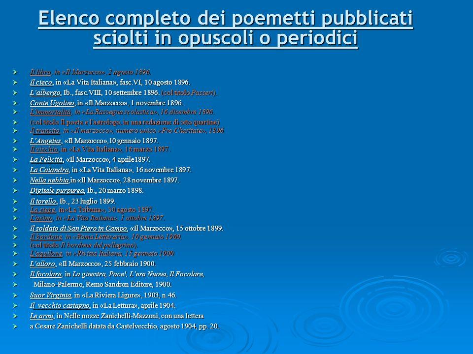 Elenco completo dei poemetti pubblicati sciolti in opuscoli o periodici Il libro, in «Il Marzocco», 2 agosto 1896. Il libro, in «Il Marzocco», 2 agost
