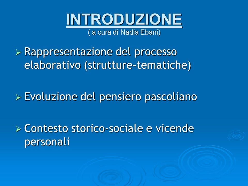 INTRODUZIONE ( a cura di Nadia Ebani) Rappresentazione del processo elaborativo (strutture-tematiche) Rappresentazione del processo elaborativo (strut
