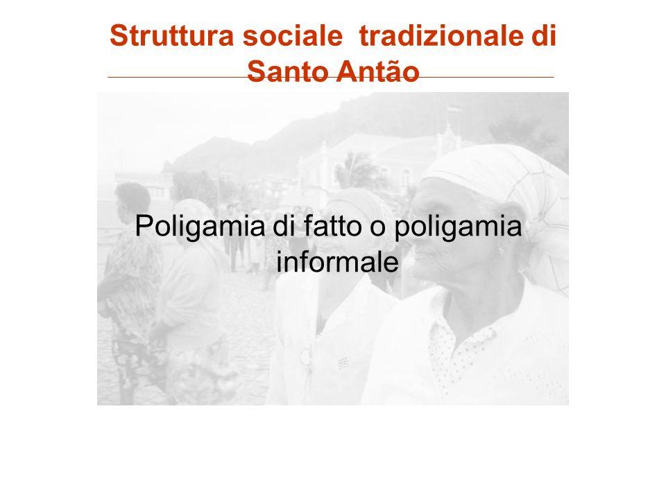 Poligamia di fatto o poligamia informale Struttura sociale tradizionale di Santo Antão