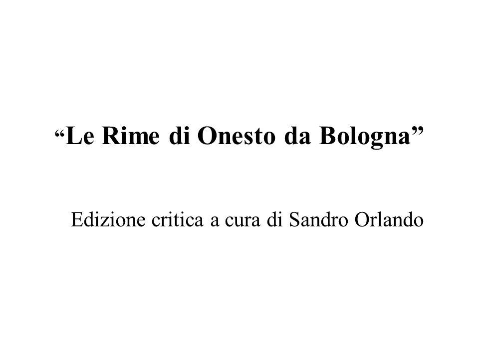 Le Rime di Onesto da Bologna Edizione critica a cura di Sandro Orlando