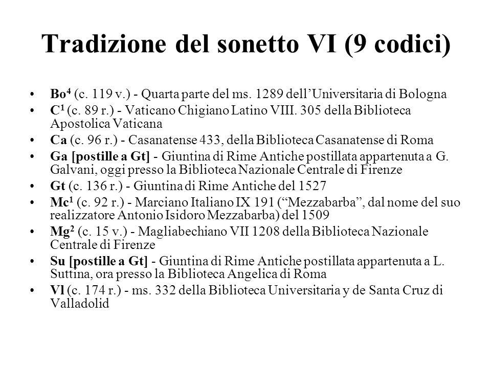 Tradizione del sonetto VI (9 codici) Bo 4 (c. 119 v.) - Quarta parte del ms. 1289 dellUniversitaria di Bologna C 1 (c. 89 r.) - Vaticano Chigiano Lati
