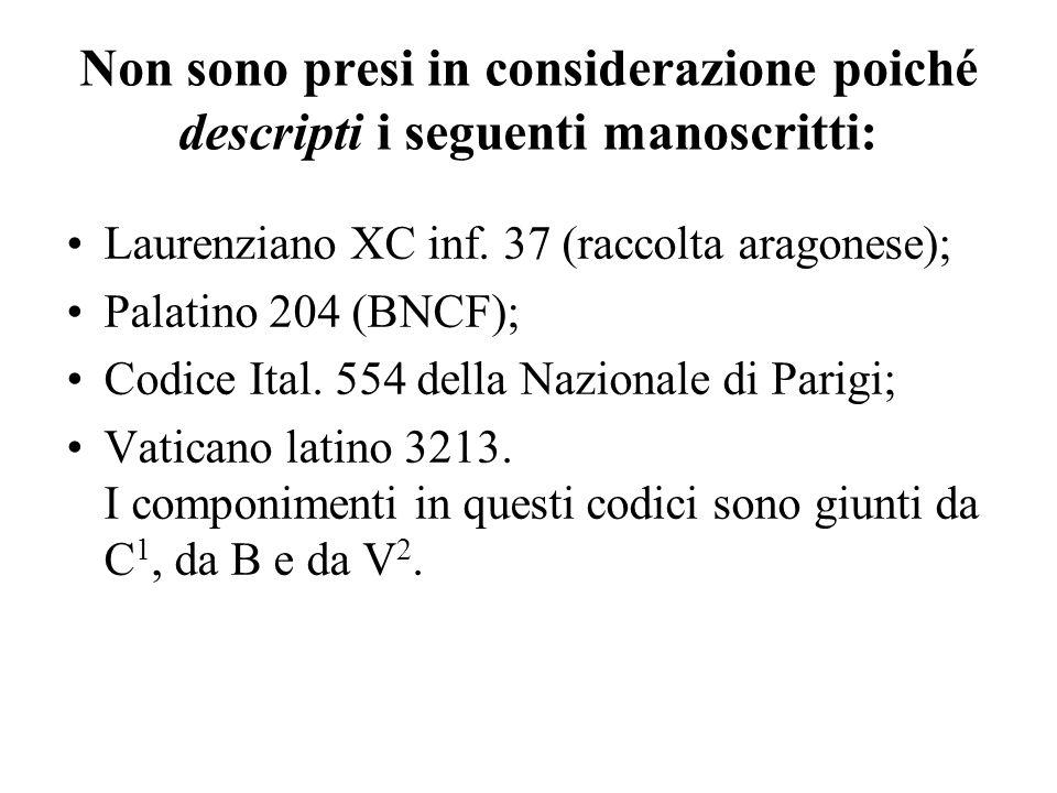 Non sono presi in considerazione poiché descripti i seguenti manoscritti: Laurenziano XC inf. 37 (raccolta aragonese); Palatino 204 (BNCF); Codice Ita