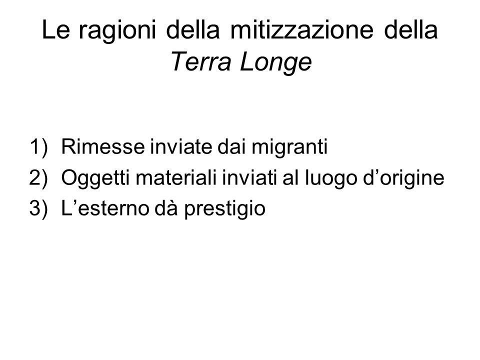 Le ragioni della mitizzazione della Terra Longe 1)Rimesse inviate dai migranti 2)Oggetti materiali inviati al luogo dorigine 3)Lesterno dà prestigio