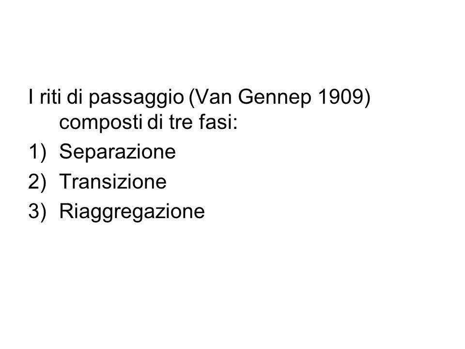 I riti di passaggio (Van Gennep 1909) composti di tre fasi: 1)Separazione 2)Transizione 3)Riaggregazione