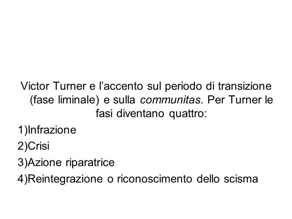 Victor Turner e laccento sul periodo di transizione (fase liminale) e sulla communitas. Per Turner le fasi diventano quattro: 1)Infrazione 2)Crisi 3)A