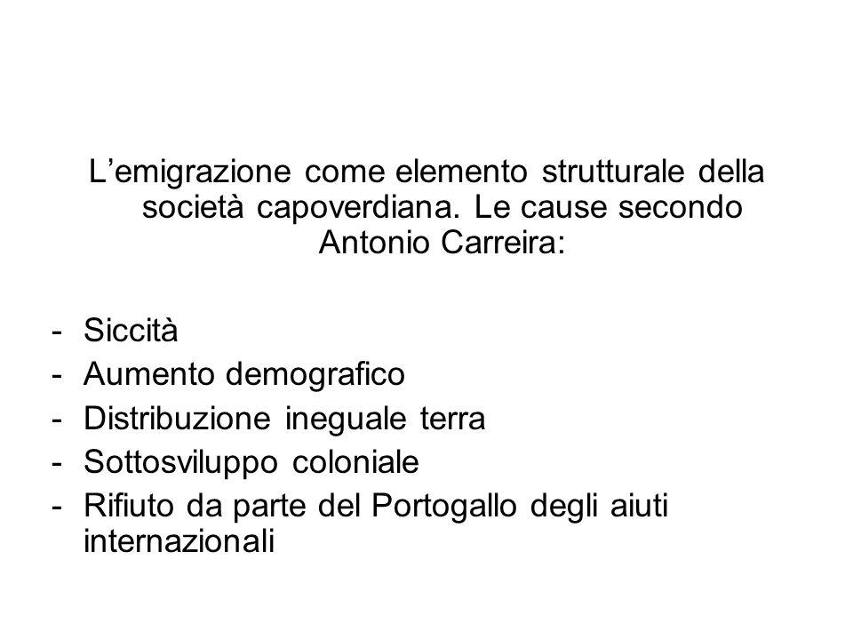 Lemigrazione come elemento strutturale della società capoverdiana. Le cause secondo Antonio Carreira: -Siccità -Aumento demografico -Distribuzione ine
