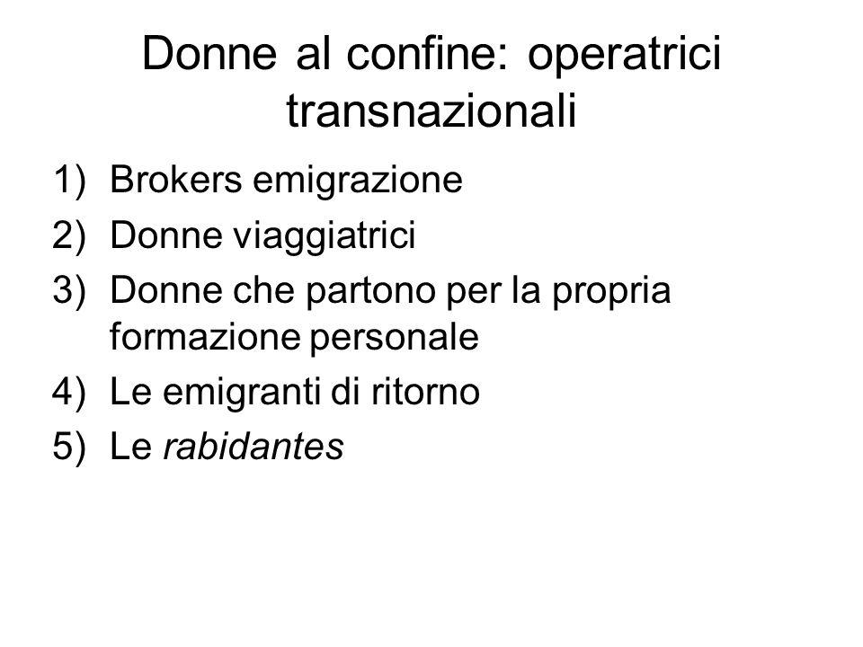 Donne al confine: operatrici transnazionali 1)Brokers emigrazione 2)Donne viaggiatrici 3)Donne che partono per la propria formazione personale 4)Le em