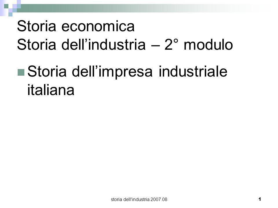 storia dell'industria 2007.081 Storia economica Storia dellindustria – 2° modulo Storia dellimpresa industriale italiana